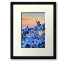 Oia Santorini sunset Framed Print