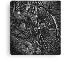 Wagon Wheel Harvest On The Farm Monochrome Black and White Canvas Print