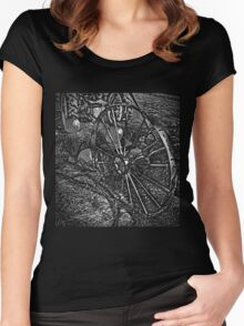 Wagon Wheel Harvest On The Farm Monochrome Black and White Women's Fitted Scoop T-Shirt