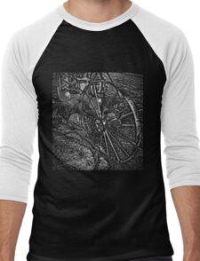 Wagon Wheel Harvest On The Farm Monochrome Black and White Men's Baseball ¾ T-Shirt