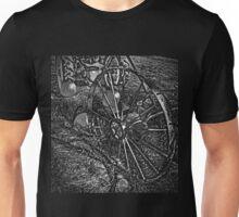 Wagon Wheel Harvest On The Farm Monochrome Black and White Unisex T-Shirt