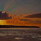 Sunset over Whitby Beach by JMChown