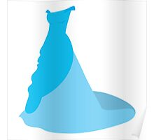 simple classic blue wedding gown dress Poster