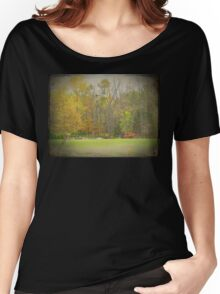 Old Time Farm Scene Tractors and Windmill Women's Relaxed Fit T-Shirt