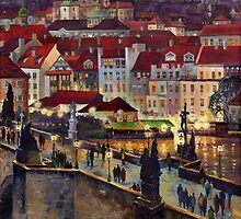 Prague Charles Bridge with the Prague Castle by Yuriy Shevchuk