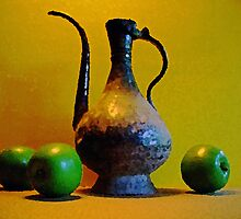 Green Apples with Indian Pitcher by suzannem73
