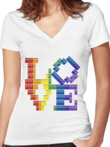 TARDIS in Love Women's Fitted V-Neck T-Shirt