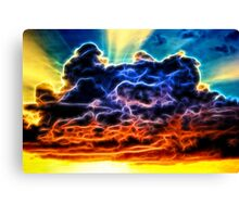 Funky Glowing Electrified Rainbow Clouds Abstract Canvas Print