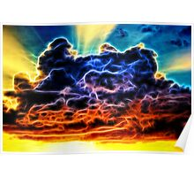 Biblical Electrified Cumulus Clouds Skyscape Poster