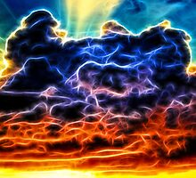 Funky Glowing Electrified Rainbow Clouds Abstract by Shelley Neff