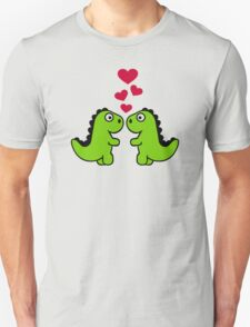 Dinosaur red hearts love T-Shirt
