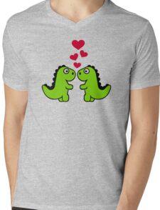 Dinosaur red hearts love Mens V-Neck T-Shirt