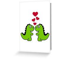 Dinosaur red hearts love Greeting Card