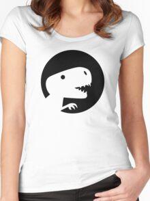 Dinosaur T-Rex moon Women's Fitted Scoop T-Shirt