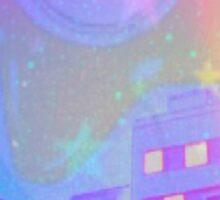 sailor moon star locket town scene Sticker