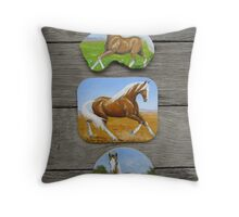 Palomino & Paint Horse fridge magnets Throw Pillow
