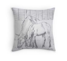 Mare and Foal by A. Wier Throw Pillow