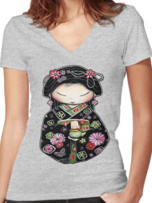 Little Green Teapot for colour  Women's Fitted V-Neck T-Shirt