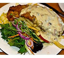 Food: Veal Schnitzel at Emeralds Restaurant  Photographic Print