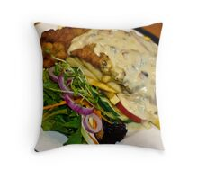 Food: Veal Schnitzel at Emeralds Restaurant  Throw Pillow