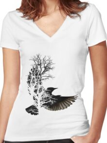 Shadows Women's Fitted V-Neck T-Shirt