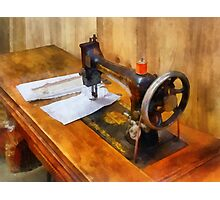 Sewing Machine With Orange Thread Photographic Print