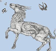 """Printemps"" -- Springtime Antelope, Flower and Bird by Muninn"