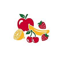 Fruits apple banana lemon strawberry Photographic Print