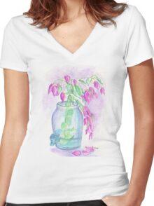 Flagler Beach Bougainvillea Women's Fitted V-Neck T-Shirt