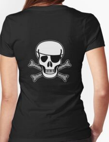 Pirate Squeezebones Black and White for Dark Colors Womens Fitted T-Shirt