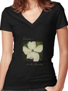 Dogwood Dream in the Garden Women's Fitted V-Neck T-Shirt
