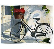 Bicycle with Red Flowers Poster