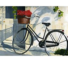 Bicycle with Red Flowers Photographic Print