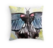 Butterfly macro watercolor painting Throw Pillow
