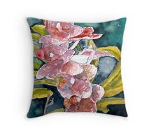 hybrid orchids flower watercolor painting  Throw Pillow