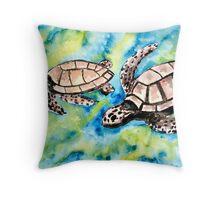 pair of sea turtles watercolor painting Throw Pillow