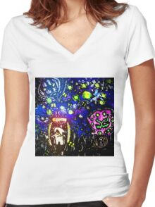 Litwick Trapped Little Candle Women's Fitted V-Neck T-Shirt