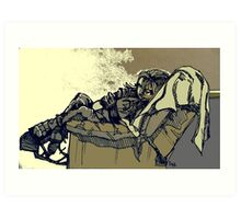 Sleeping Figure in Chair (Digital Alteration of Drawing)- Art Print