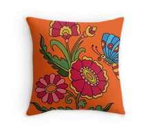 flower and butterfly orange Throw Pillow