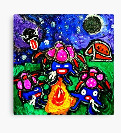 pokemon gloom & Gastly Campfire Canvas Print