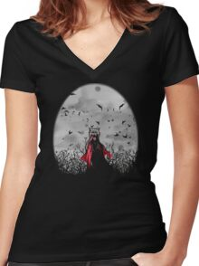 Red vs The Wolf Women's Fitted V-Neck T-Shirt