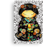 Little Multicolour Teapot Floral  Canvas Print