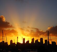 Beams of Light over Sydney by Samantha  Goode