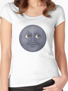 Moon Emoji Women's Fitted Scoop T-Shirt