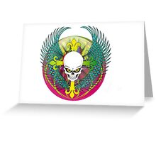 COLORFUL SKULL WITH WINGS - Bright Colors Greeting Card