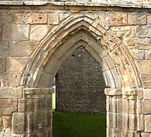 doorway at the Egglestone Abbey by hilarydougill