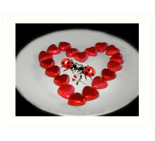 ♥VALENTINE HEARTS AND ROSES KISSING LADYBUGS...EVEN LADYBUGS FALL IN LOVE♥ Art Print