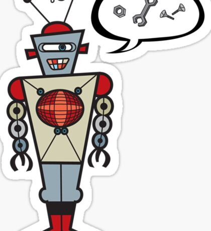 Robot Talking Nuts and Bolts Sticker