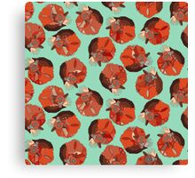 curled fox polka mint Canvas Print