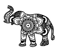 Mandala Elephant Black by laurauroraa